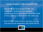 using analysis dissonance 2