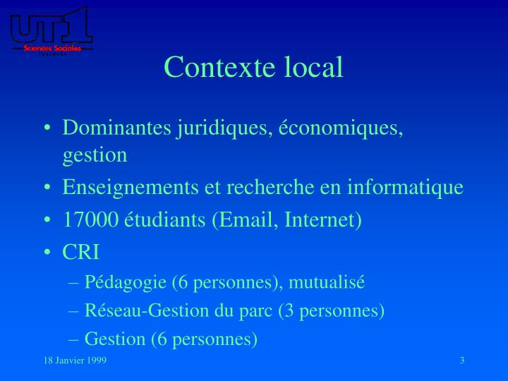 Contexte local