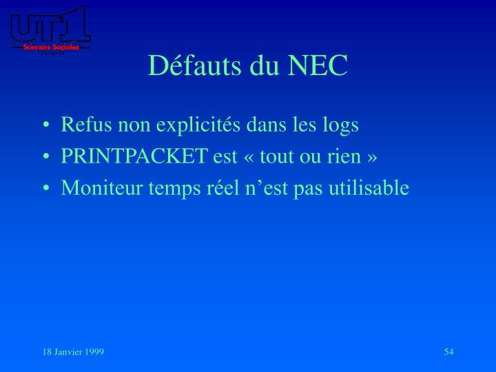 Défauts du NEC