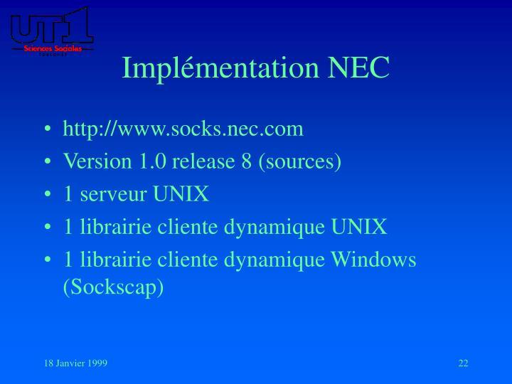 Implémentation NEC