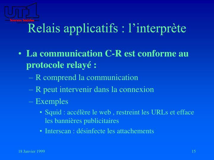 Relais applicatifs : l'interprète
