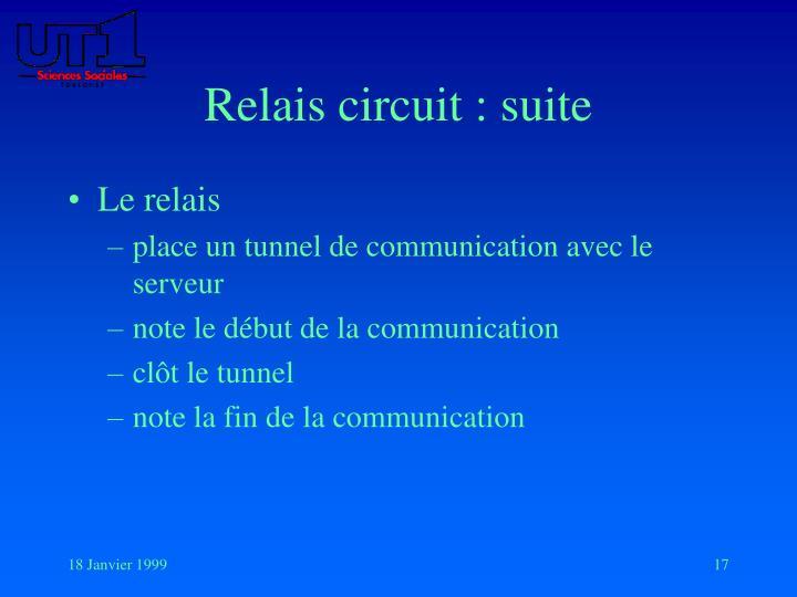 Relais circuit : suite