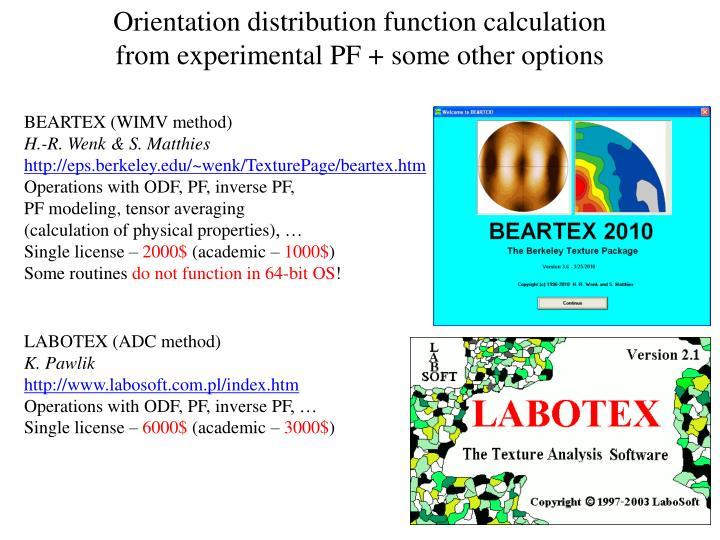 Orientation distribution function calculation
