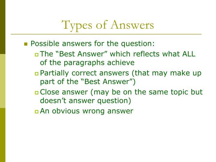 Types of Answers