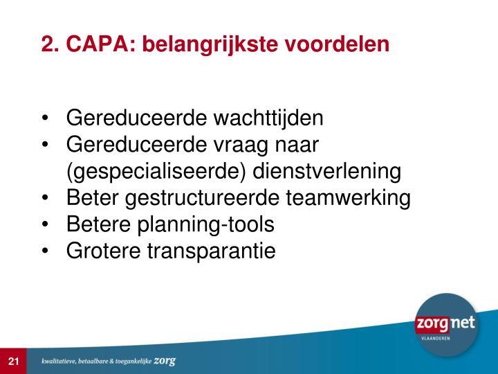2. CAPA: belangrijkste voordelen