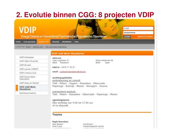 2. Evolutie binnen CGG: 8 projecten VDIP
