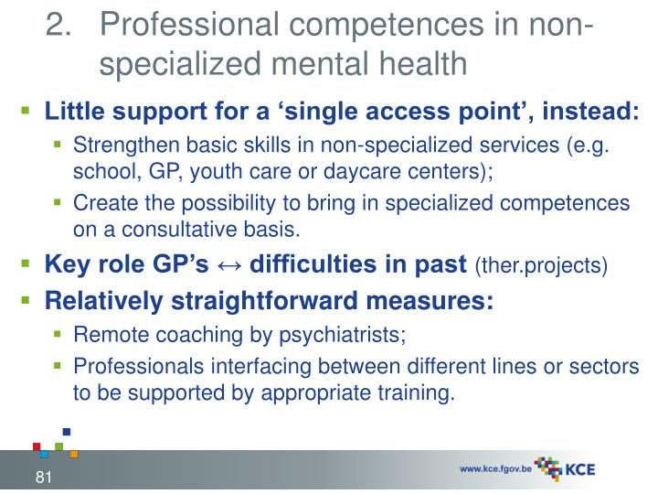 Professional competences in non-specialized mental health