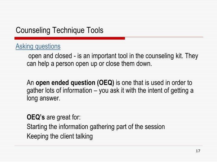 Counseling Technique Tools