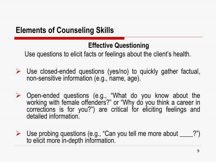 Elements of Counseling Skills