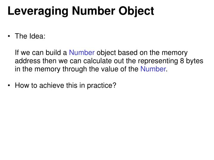 Leveraging Number Object
