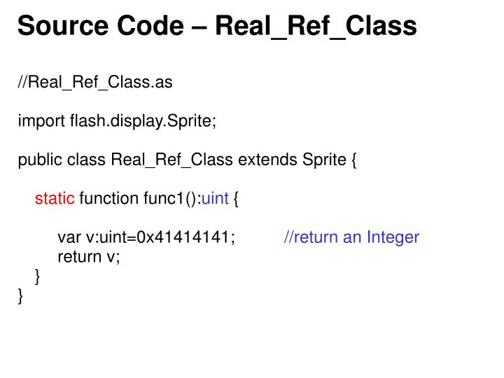 Source Code – Real_Ref_Class
