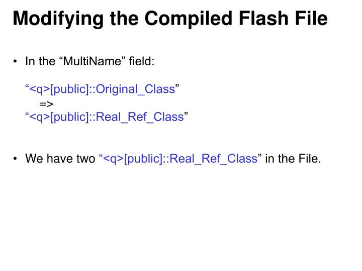Modifying the Compiled Flash File