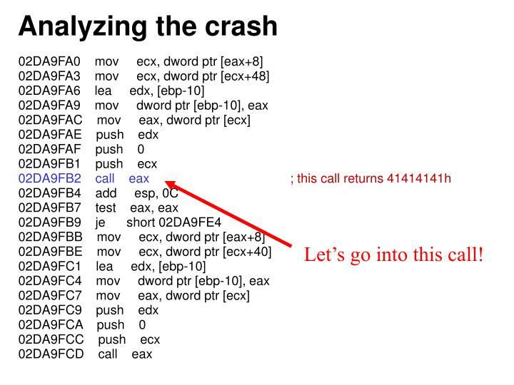 Analyzing the crash