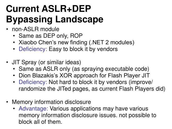 Current ASLR+DEP Bypassing Landscape