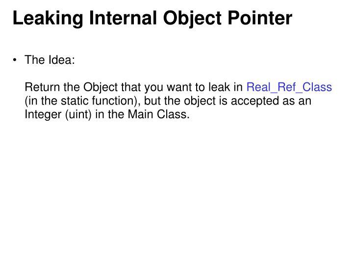 Leaking Internal Object Pointer