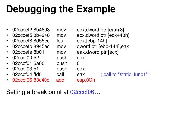 Debugging the Example