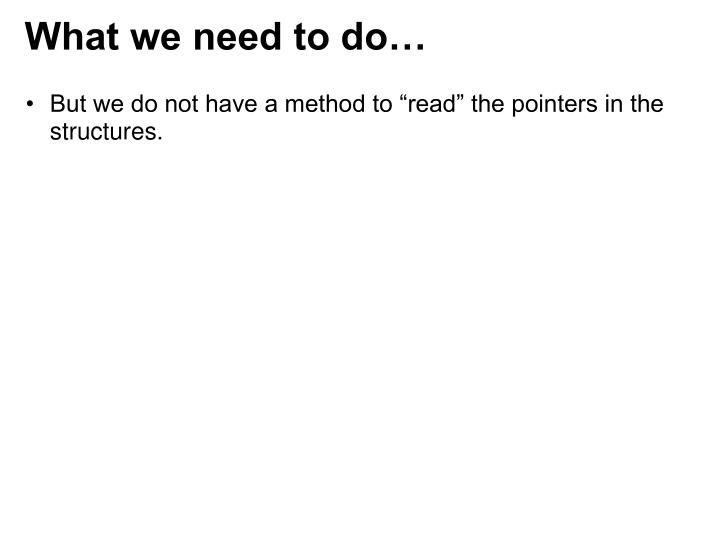 What we need to do…