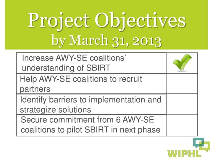 Help AWY-SE coalitions to recruit partners