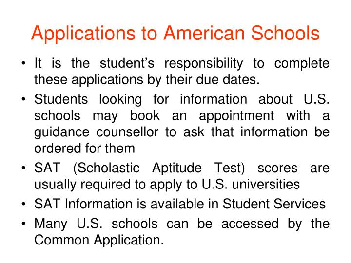 Applications to American Schools