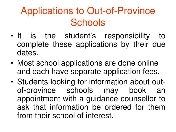 Applications to Out-of-Province Schools