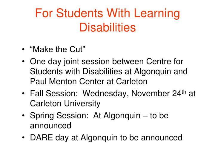 For Students With Learning Disabilities
