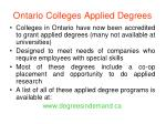 ontario colleges applied degrees