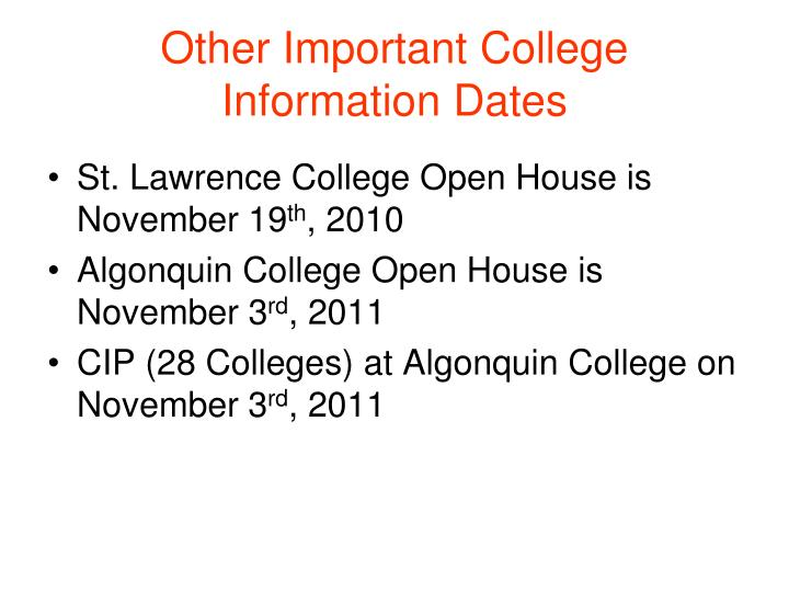 Other Important College Information Dates