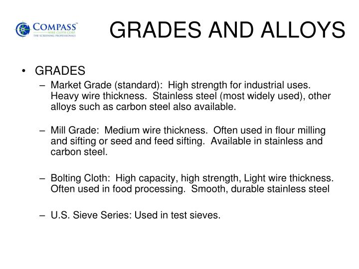 GRADES AND ALLOYS