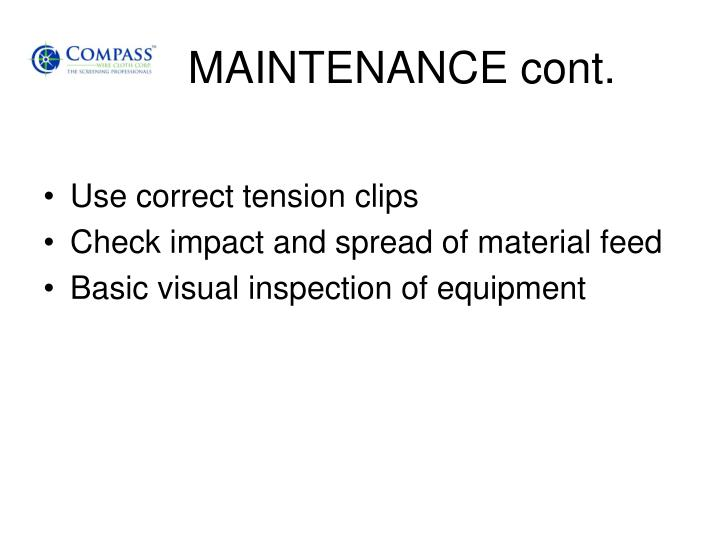 MAINTENANCE cont.