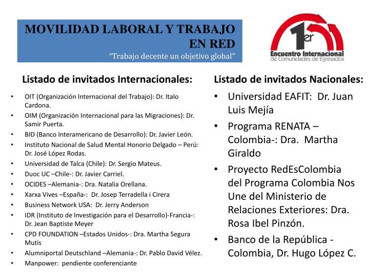 Listado de invitados Internacionales: