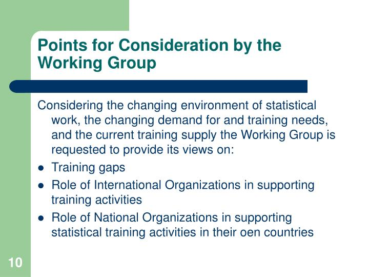 Points for Consideration by the Working Group