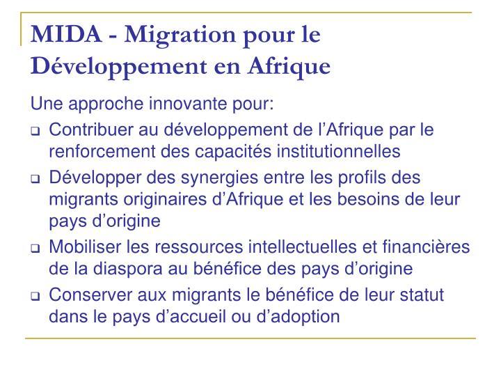 MIDA - Migration pour le Développement en Afrique