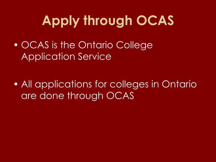Apply through OCAS