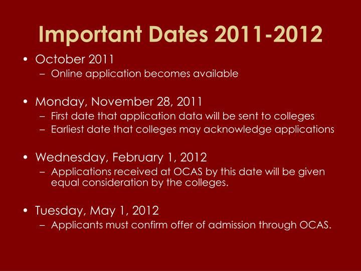 Important Dates 2011-2012