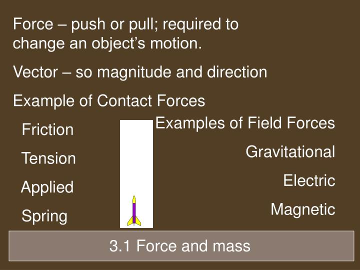 Force – push or pull; required to change an object's motion.