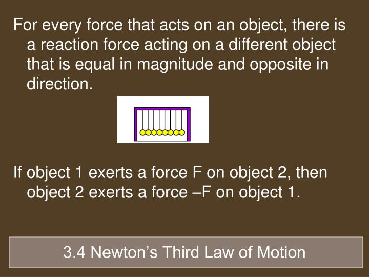 For every force that acts on an object, there is a reaction force acting on a different object that is equal in magnitude and opposite in direction.