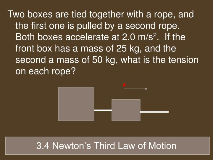 Two boxes are tied together with a rope, and the first one is pulled by a second rope.  Both boxes accelerate at 2.0 m/s