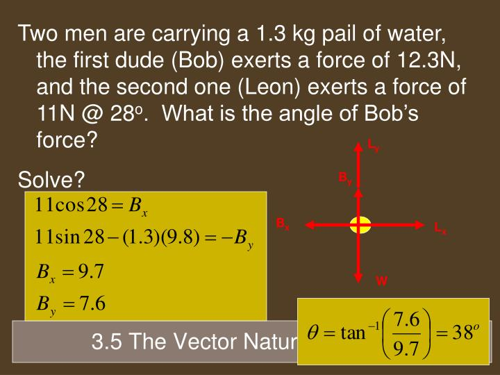 Two men are carrying a 1.3 kg pail of water, the first dude (Bob) exerts a force of 12.3N, and the second one (Leon) exerts a force of 11N @ 28