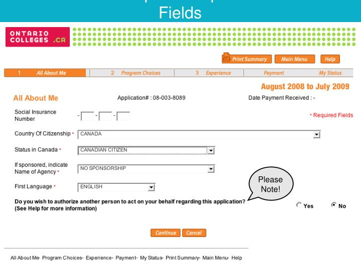 Complete Required Fields