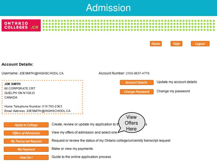 Click Offers of Admission