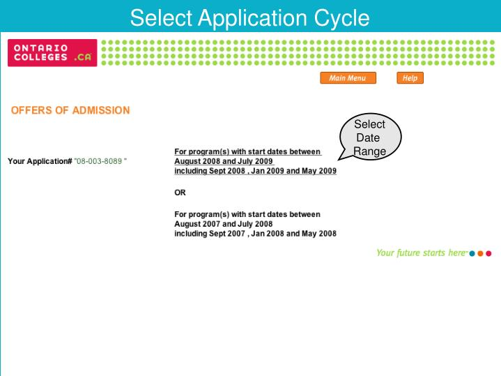 Select Application Cycle