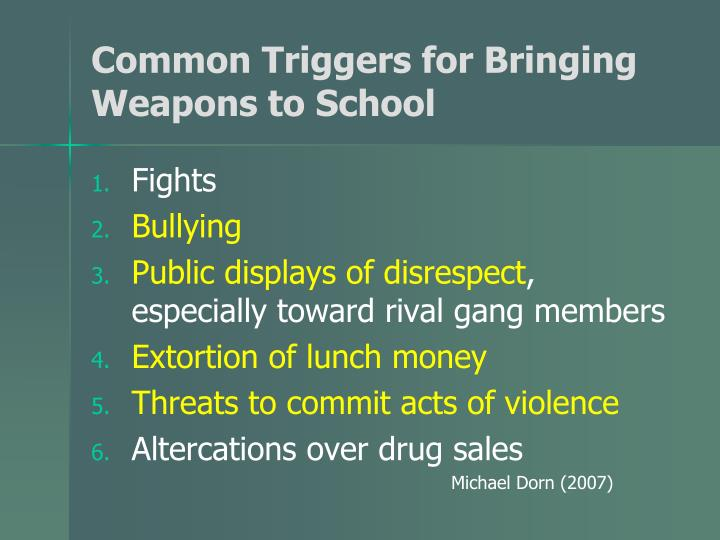 Common Triggers for Bringing Weapons to School