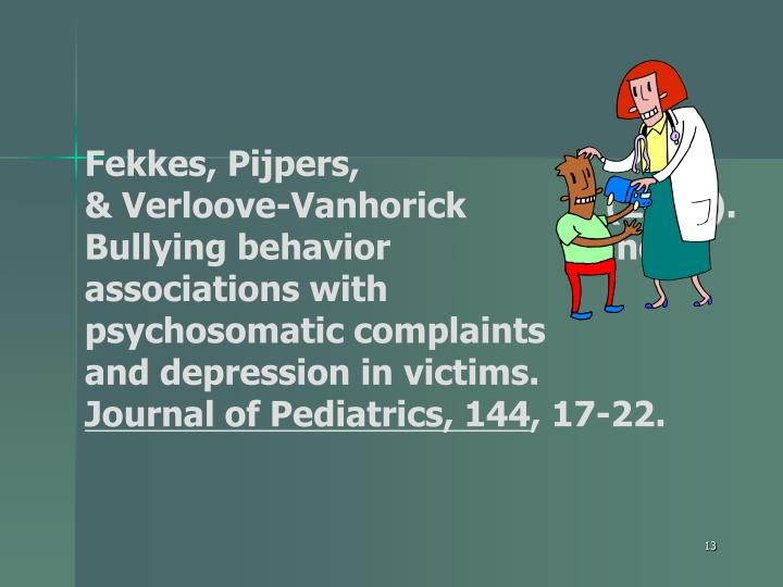 Fekkes, Pijpers, 					 & Verloove-Vanhorick 		     (2003).  Bullying behavior 		    and associations with 	            psychosomatic complaints 		    and depression in victims.