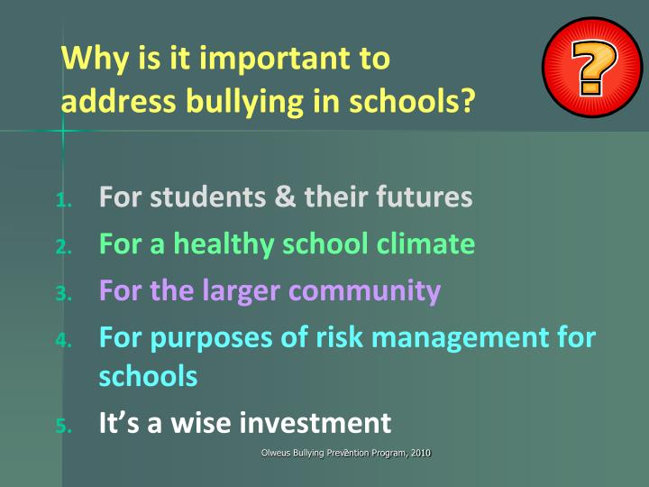 Why is it important to address bullying in schools