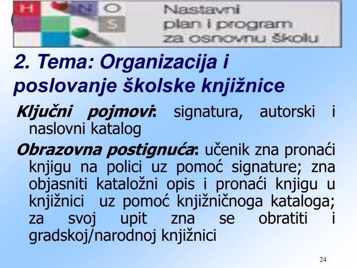 2. Tema: Organizacija i poslovanje školske knjižnice
