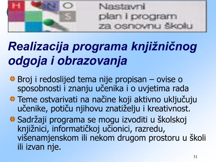 Realizacija programa knjižničnog odgoja i obrazovanja