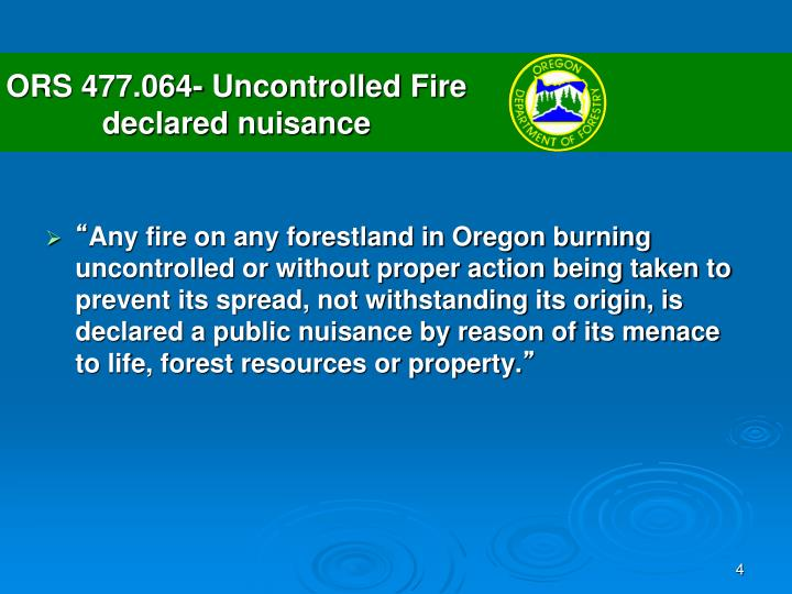 ORS 477.064- Uncontrolled Fire