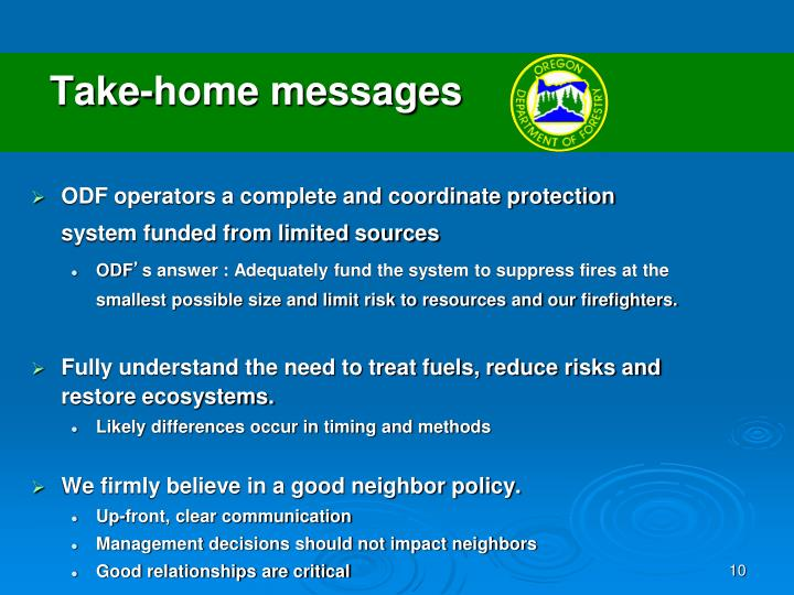 Take-home messages