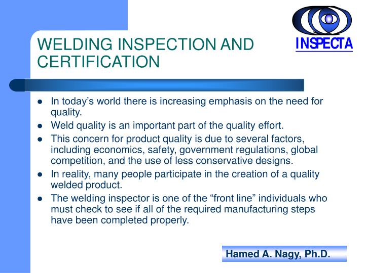 WELDING INSPECTION AND CERTIFICATION