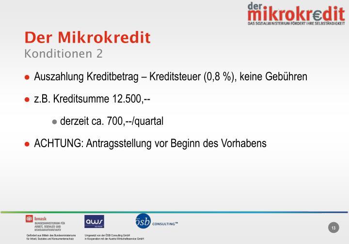 Der Mikrokredit